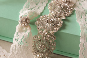 photo of Beaded crystals pearls lace bridal garter