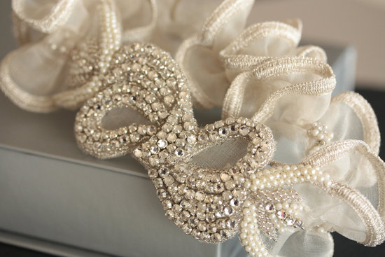 beaded with ruffles wedding garter