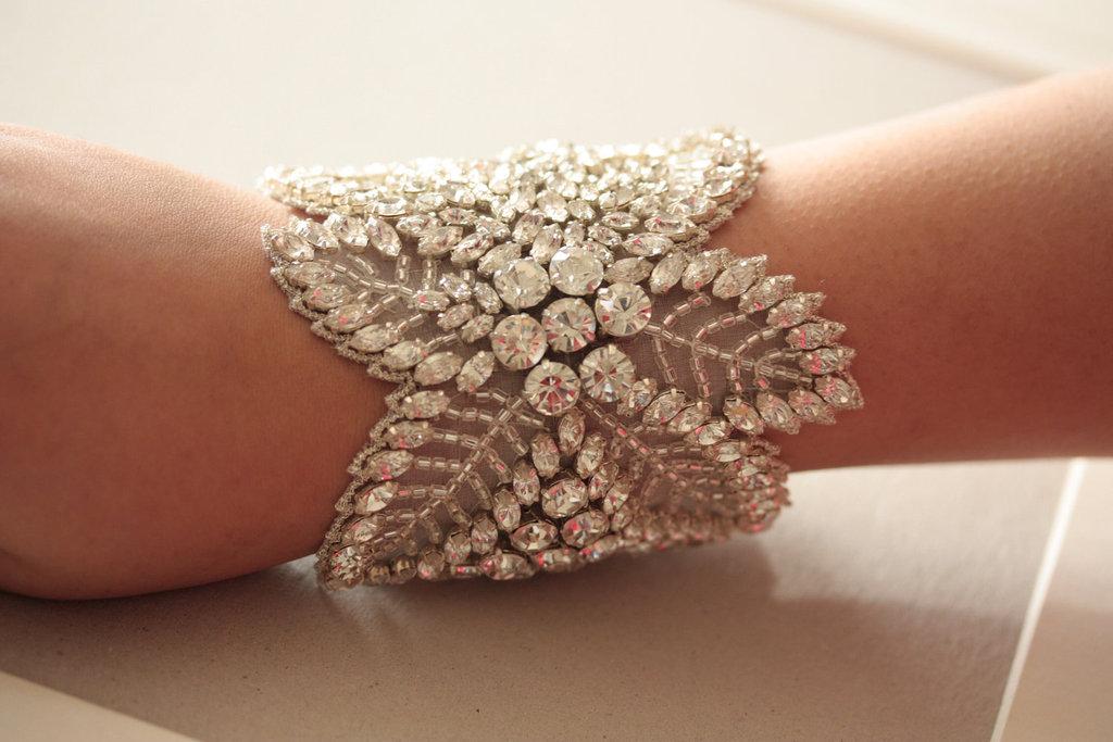 Beaded Wedding Cuff Bracelet Fl Design