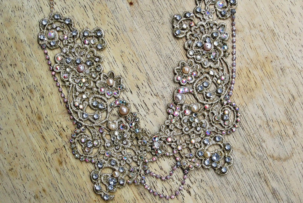 crystal beaded lace wedding necklace