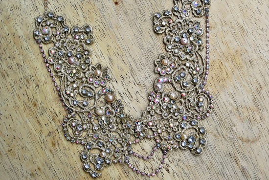 swarovski crystal beaded lace wedding necklace