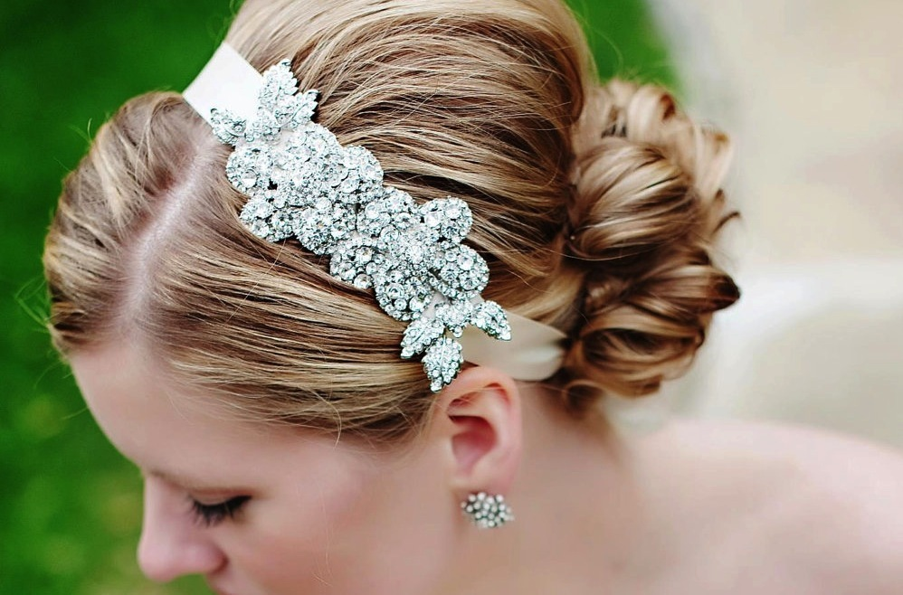 Beaded bridal headband with ribbon tie