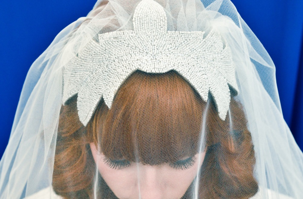 Veiled wedding headpiece with dazzling beading