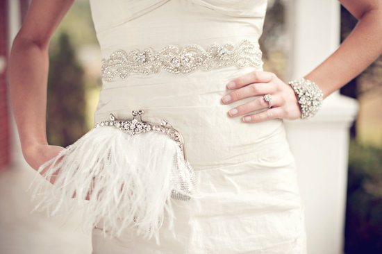beaded wedding sash bracelet and feather clutch