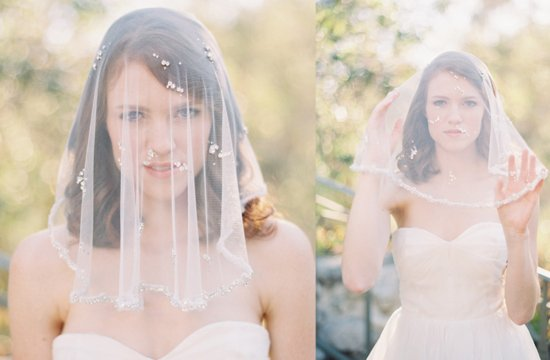 Crystal beaded bridal veil sheer tulle