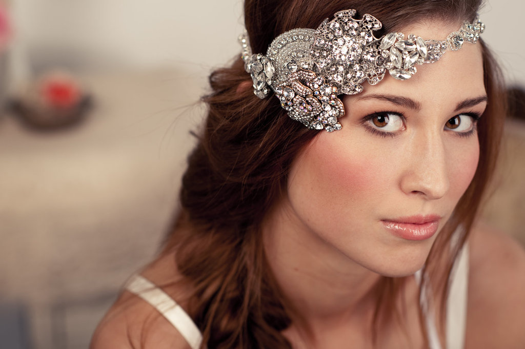 Beaded boho bridal halo art deco inspired
