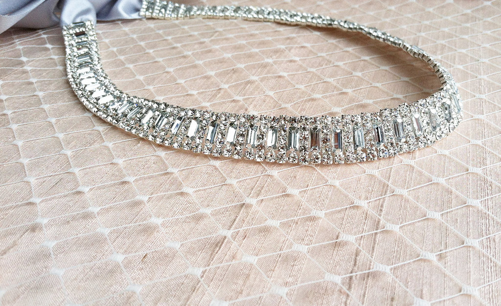 Rhinestone crystal beaded wedding sash necklace