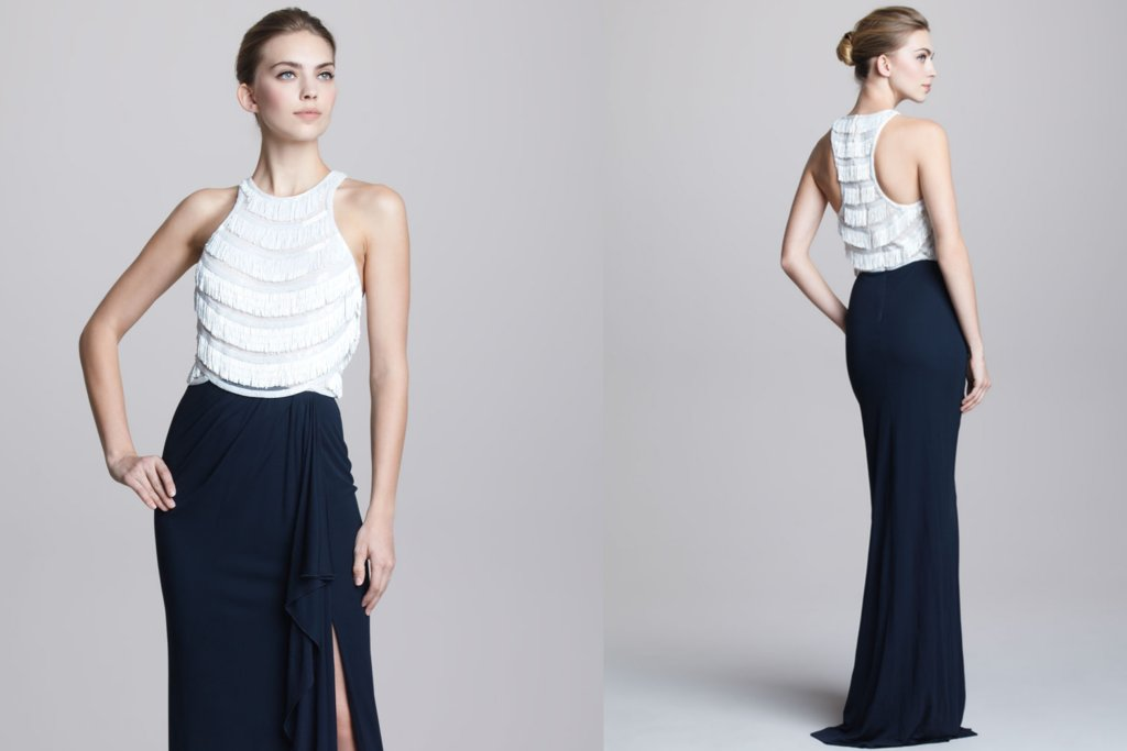 Navy-and-white-fringe-gown-for-bridesmaids.full