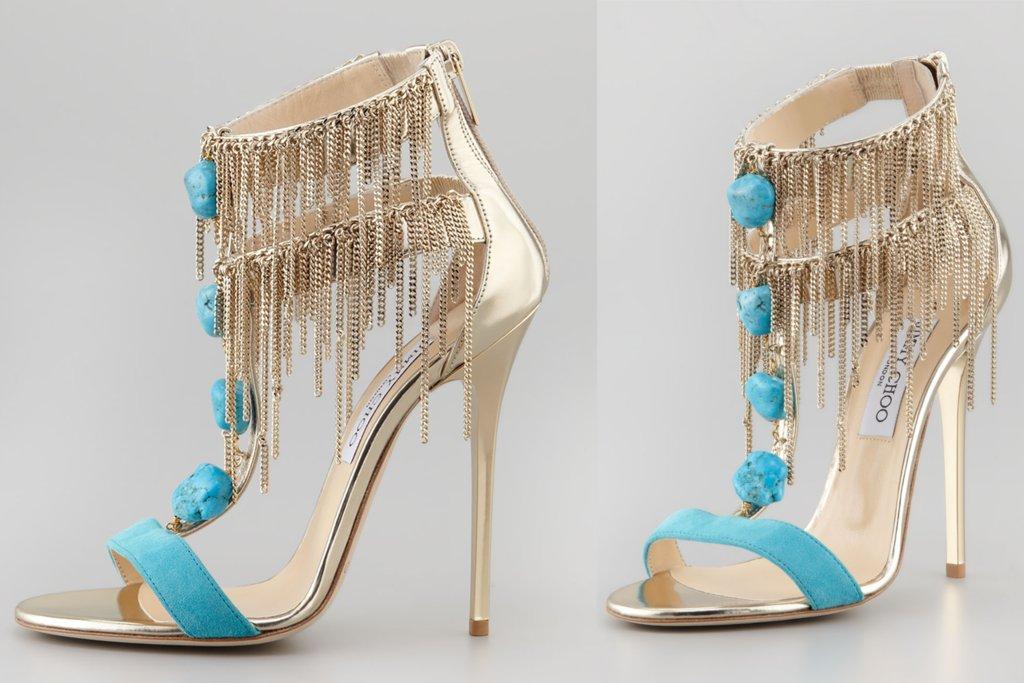 Gold and Turquoise Fringe Wedding Shoes 33211f677f64