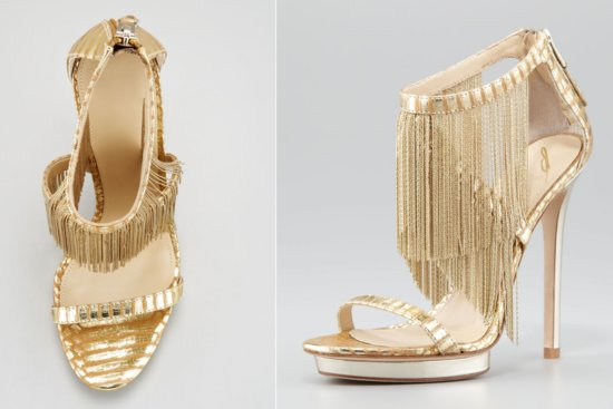 Gold Fringe Strappy Wedding Shoes