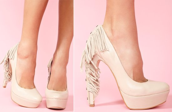 Beige Fringe Platform Wedding Shoes