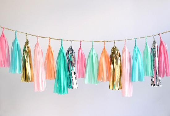 Colorful Pastel and Metallic Wedding Fringe Garland