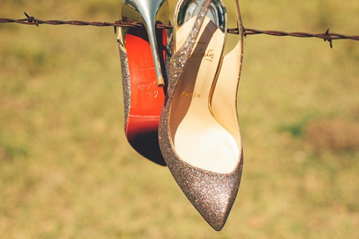 Shimmery copper Louboutin wedding shoes