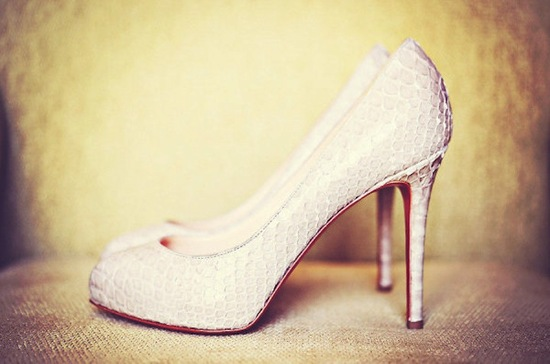 Ivory snakeskin Louboutin wedding shoes