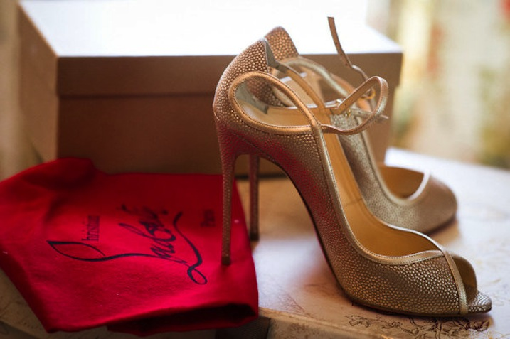 Gold Peep Toe Wedding Shoes By Christian Louboutin