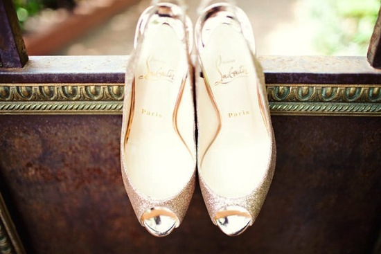 gold sparkle christian louboutin wedding heels