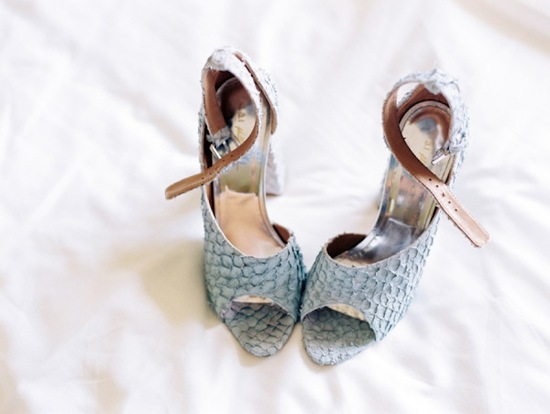 Gray Snakeskin Peep Toe Wedding Shoes