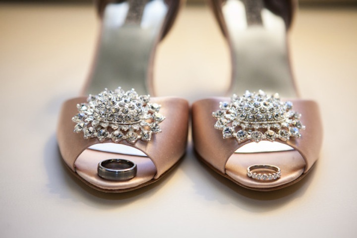 Satin blush pink wedding heels with crystal brooches