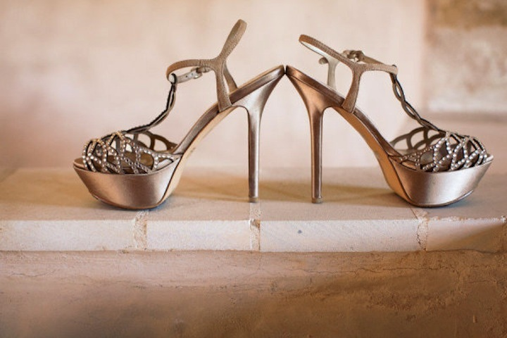 Shimmery Taupe Platform Wedding Shoes With Crystals