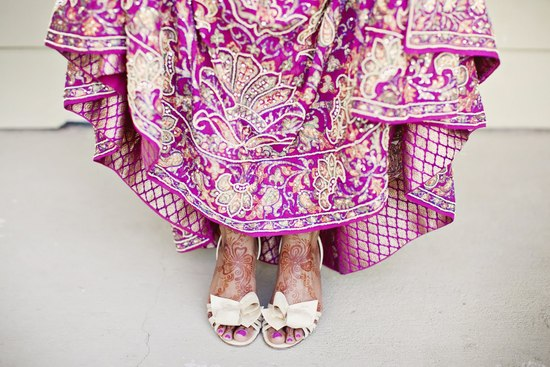 Indian Wedding Inspiration Fuschia Gold Gown
