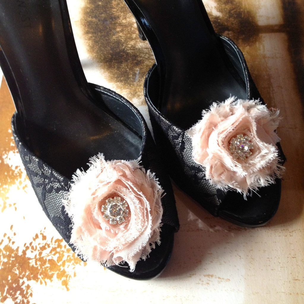 Black lace wedding shoes with blush fabric flowers