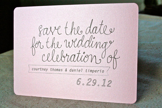 light pink shimmer wedding save the date