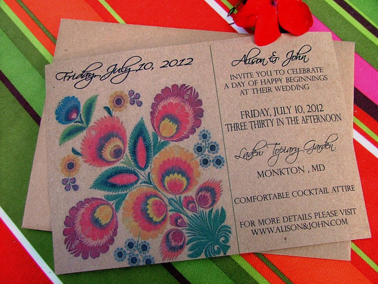 ethnic folk wedding kraft paper invitations