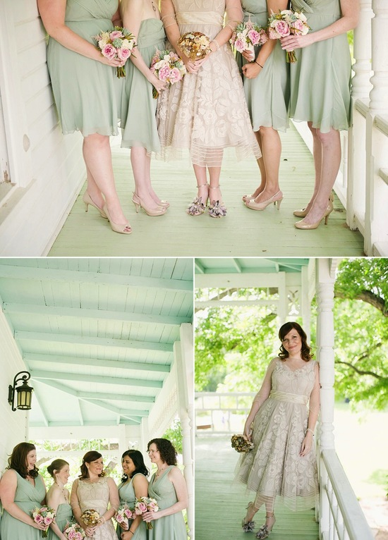 Daytime outdoor wedding bridesmaids in sage frocks