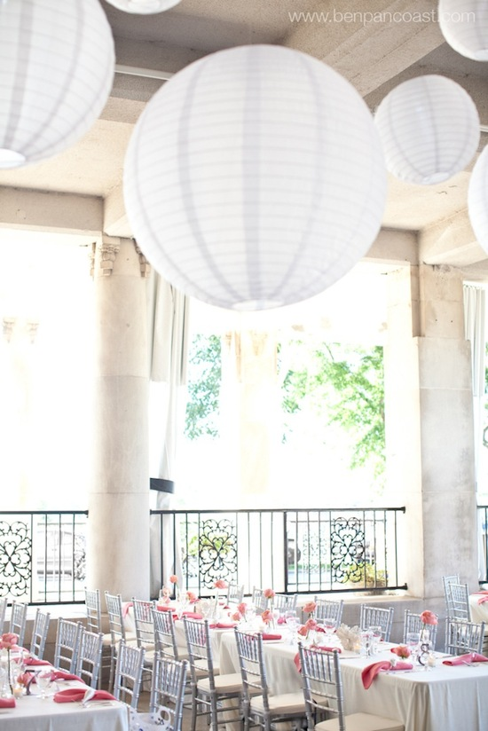 White linen lanterns for wedding decor