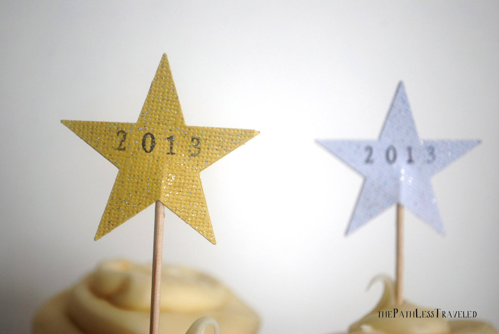 Gold and Silver Stars wedding cupcake toppers