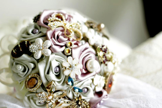 Vintage brooch bridal bouquet assorted metallics