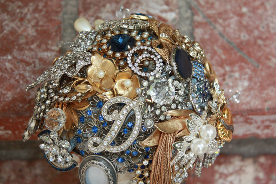 Silver gold sapphire brooch wedding bouquet with inital