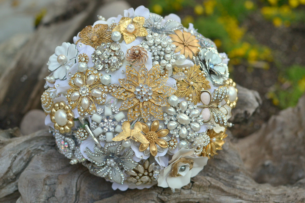 silver gold and white brooch wedding bouquet
