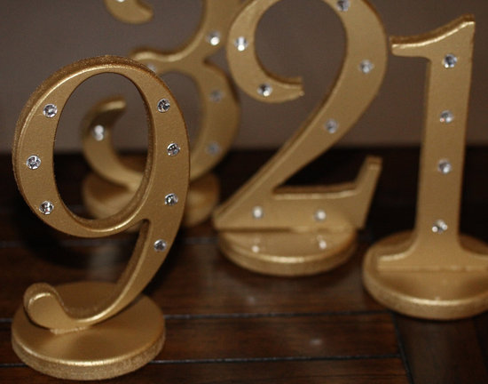 Gold wedding table numbers with silver accents