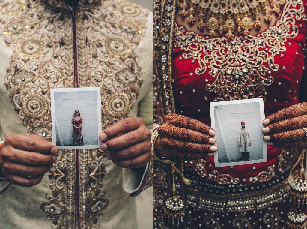 Ornate-indian-wedding-bride-and-groom-hold-polaroids.full