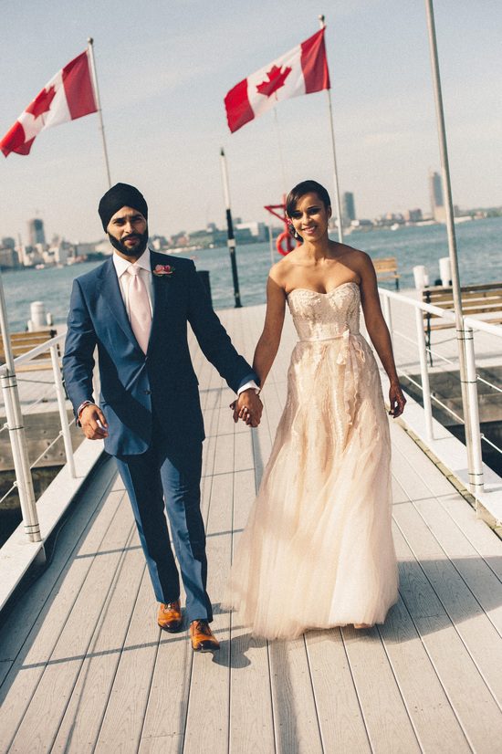 Touching Bride and Groom Embrace Indian Wedding in Toronto