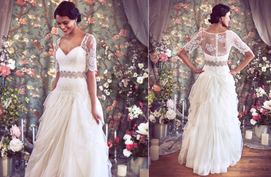 Princess style wedding dress with sheer lace top