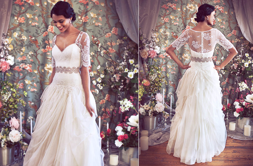 Princess Style Wedding Dress Lace : Princess style wedding dress with sheer lace top onewed