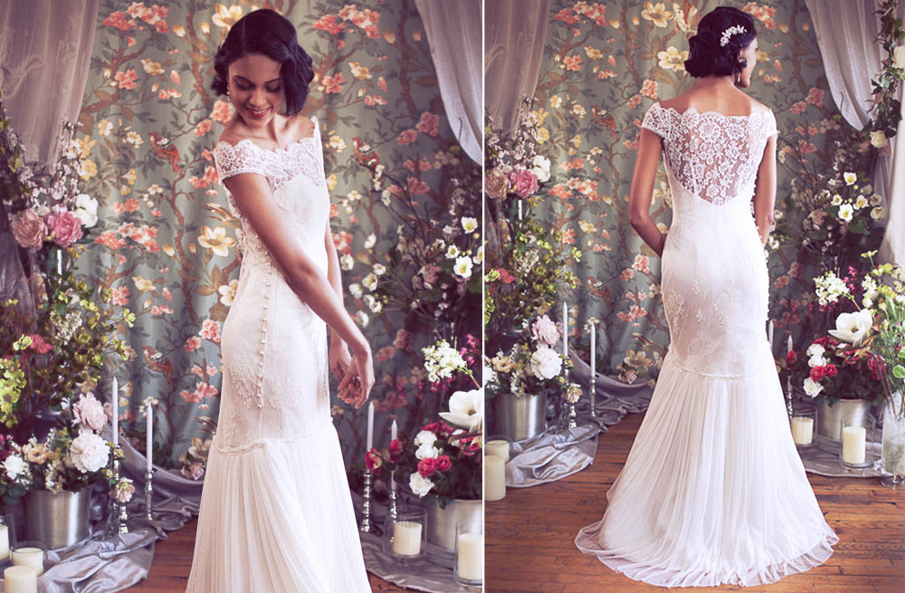 vintage inspired lace wedding dress with statement back