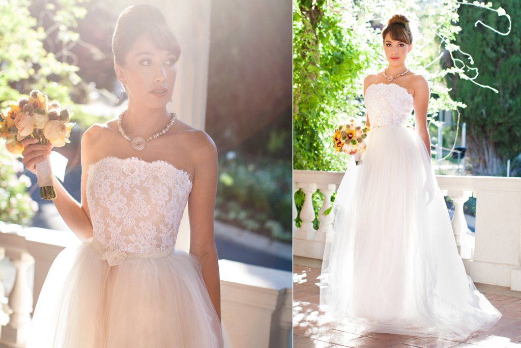 Nude and White Lace Tulle Wedding Gown