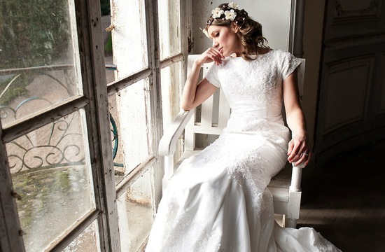 French Lace Modest Classic Wedding Dress