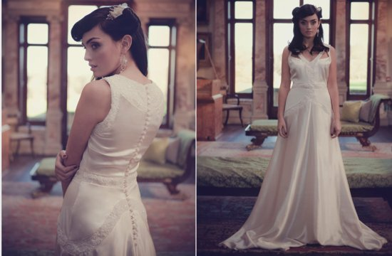 Handmade lace silk wedding dress