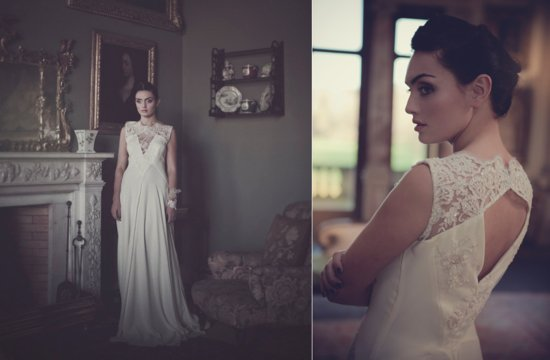 Handmade lace silk wedding dress with illusion neckline