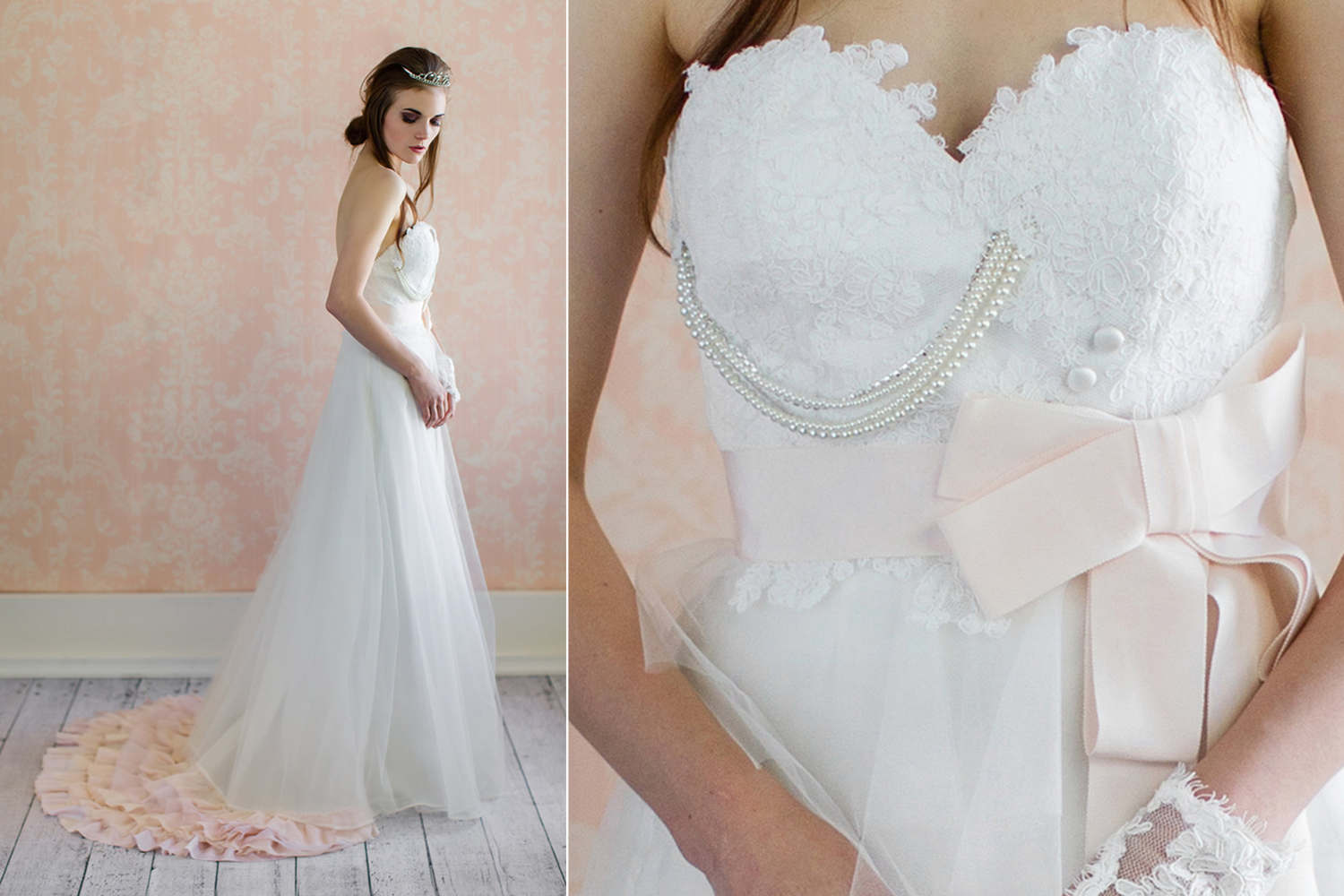 Whimsical lace and tulle wedding gown with blush sash for Lace blush wedding dress