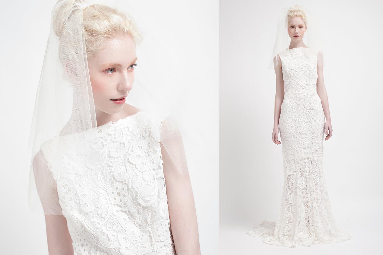 Lace drop waist wedding dress high neck for Lace drop waist wedding dress