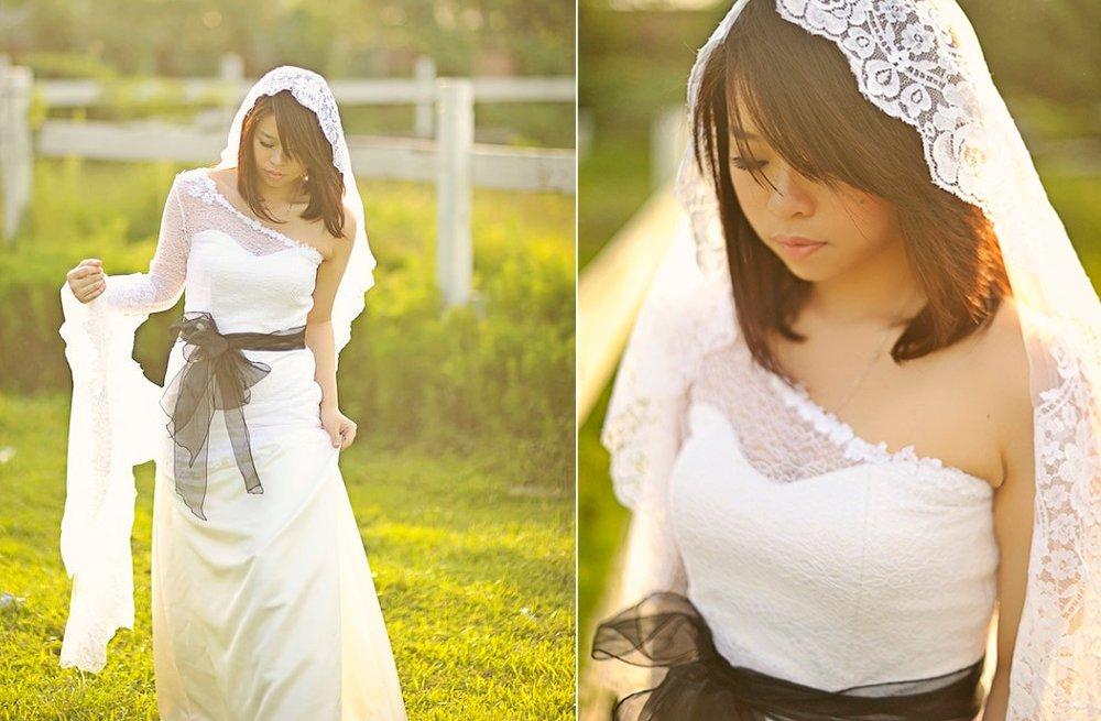 One-shoulder-white-lace-wedding-dress-with-black-sash.full