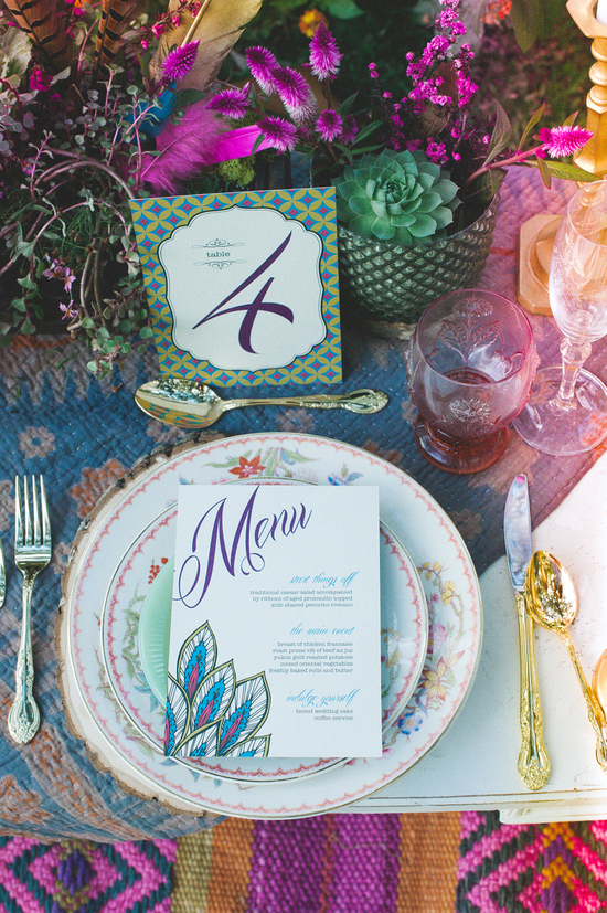 Colorful table decorations for reception