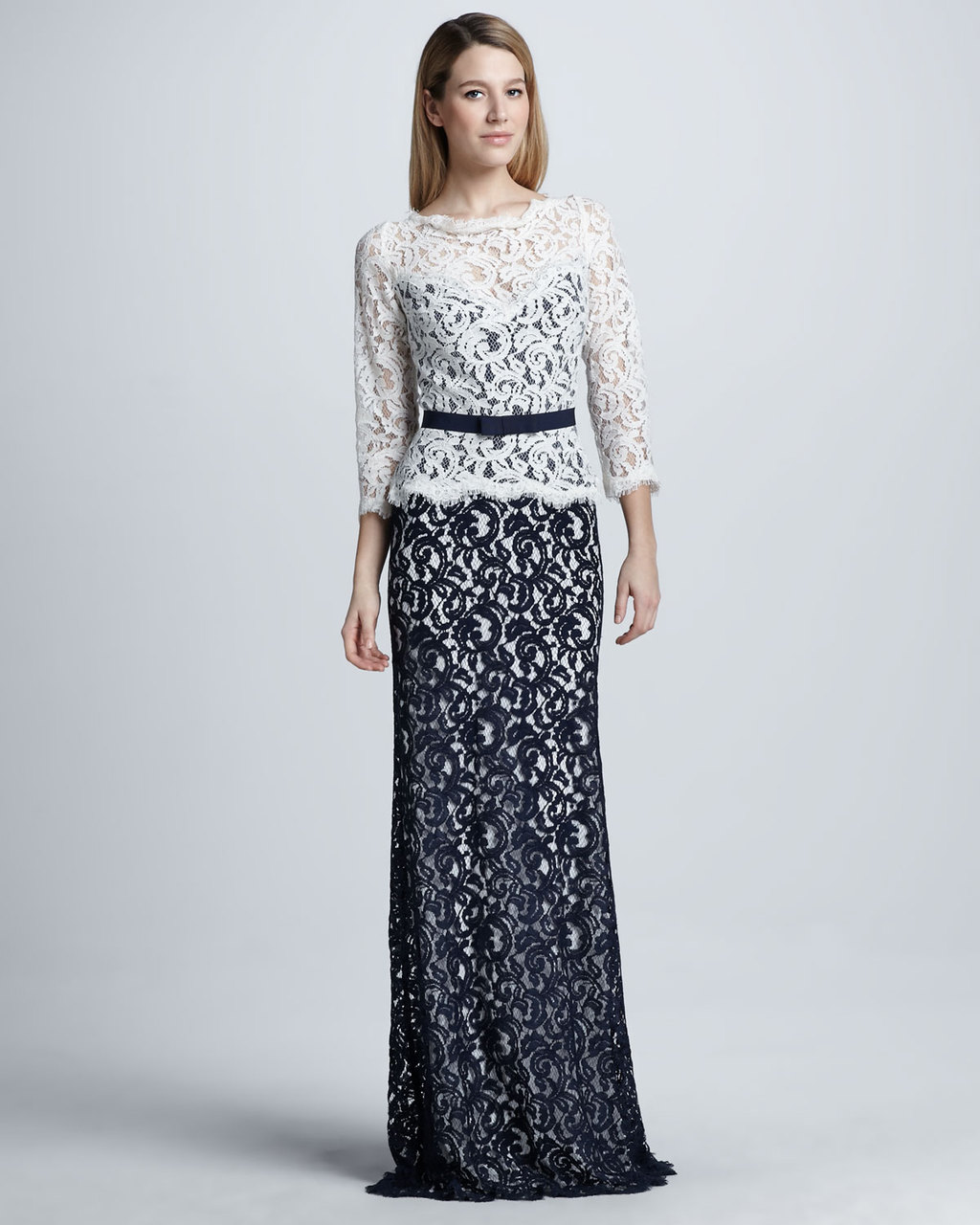 Navy and White Lace MOB gown for weddings