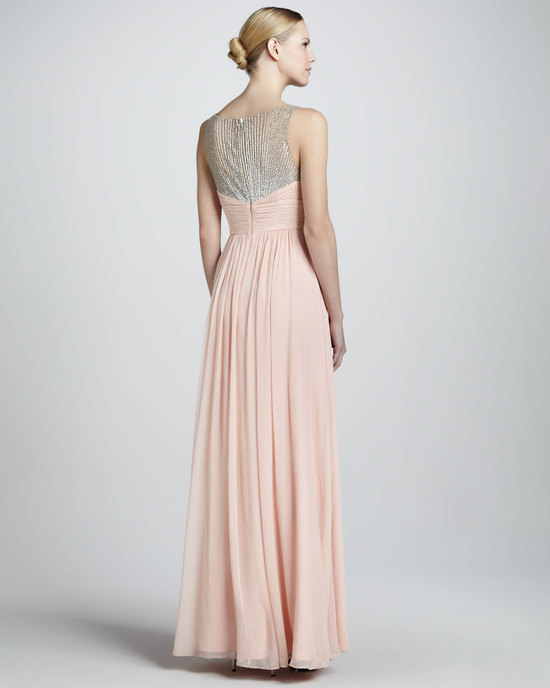 Blush pink chiffon gown for bridesmaids or MOB