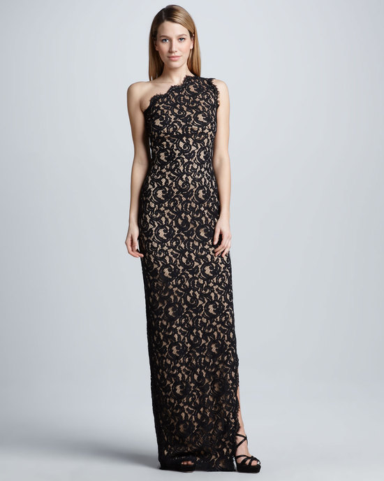 one shoulder black lace over nude MOB gown
